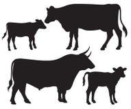 Zwart-witte vectorsilhouetten van vee vector illustratie