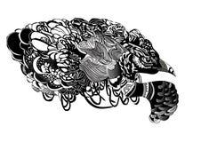 Zwart-witte vectorvogel Royalty-vrije Stock Afbeelding
