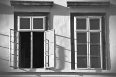 Zwart-witte vensters royalty-vrije stock foto