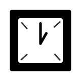 Zwart-witte vierkante klok Stock Fotografie