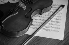 Zwart-witte viool Royalty-vrije Stock Foto's