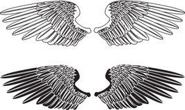 Zwart-witte Vleugels royalty-vrije illustratie