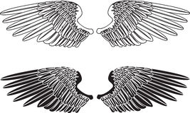 Zwart-witte Vleugels Royalty-vrije Stock Foto's