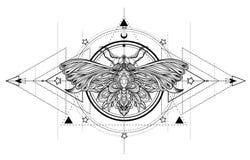 Zwart-witte vlinder over heilig meetkundeteken, geïsoleerde ve stock illustratie
