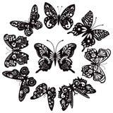 Zwart-witte vlinders voor ontwerp Royalty-vrije Stock Foto's