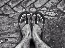 Zwart-witte voeten Royalty-vrije Stock Foto