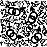 Zwart-witte vrouwelijke en mannelijke tekens Royalty-vrije Stock Foto
