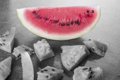 Zwart-witte watermeloen met kleurenplak Royalty-vrije Stock Fotografie