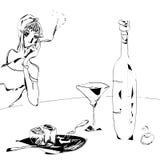 Zwart-witte wijn en glas Royalty-vrije Stock Foto