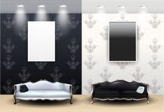 Zwart-witte Woonkamer Royalty-vrije Stock Afbeeldingen