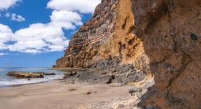 Zwart zand vulkanisch strand Het eiland van Tenerife Royalty-vrije Stock Foto