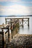 Zwart Zandstrand, Aberdour, Schotland Stock Foto's