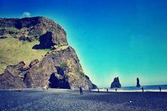 Zwart zandstrand IJsland Stock Fotografie