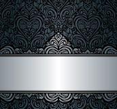 Zwart & zilveren uitstekend uitnodigingsontwerp als achtergrond Stock Foto's