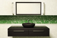 Zwarte 3d wasbakspiegel en lampen royalty-vrije illustratie