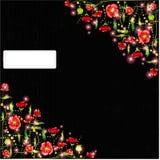 Zwarte abstracte achtergrond met papaverbloem Stock Foto's