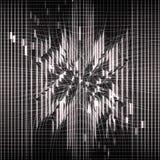 Zwarte abstracte achtergrond Neuraal netwerk Gloeiende lijnen Storing van ruimte Netwerkvervorming Explosielichten vector illustratie