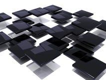 Zwarte abstracte tegels Stock Afbeelding