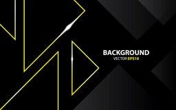 Zwarte achtergrond met driehoeksgoud metaal Minimaal concept stock illustratie