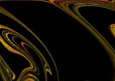 Zwarte achtergrond met gouden en multi-colored lijnen Royalty-vrije Stock Foto