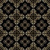 Zwarte achtergrond met gouden naadloos ornament - Royalty-vrije Stock Fotografie