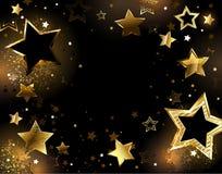 Zwarte achtergrond met gouden sterren royalty-vrije illustratie