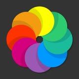 Zwarte achtergrond met regenboog gekleurde vorm Stock Fotografie