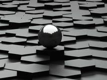Zwarte achtergrond van 3d zeshoeken en staalgebied Royalty-vrije Stock Foto