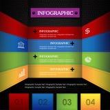 Zwarte achtergrond van het Infographic de kleurrijke leer Stock Afbeelding