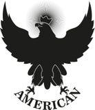 Zwarte adelaar met een kroon en een tekst royalty-vrije stock afbeeldingen
