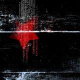 Zwarte affiche met een rode ster en een abstracte tekst Stock Foto's