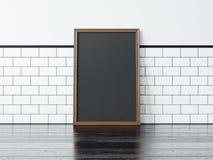 Zwarte affiche op de zwarte vloer het 3d teruggeven Royalty-vrije Stock Foto's