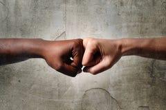 Zwarte Afrikaanse Amerikaanse ras vrouwelijke hand wat betreft gewrichten met witte Kaukasische vrouw in multiraciale diversiteit stock afbeelding
