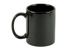 Zwarte alpha- koffiemok stock foto's