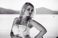 Zwarte & Witte Foto van een Model Royalty-vrije Stock Afbeeldingen