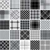 Zwarte & witte geplaatste plaidpatronen Stock Foto