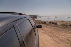 Zwarte Auto in Cabot Trail Royalty-vrije Stock Foto