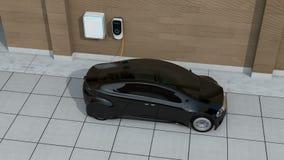Zwarte auto die in huis EV het laden post laden vector illustratie