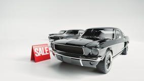 Zwarte auto en aanplakbordverkoop Stock Afbeelding