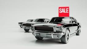 Zwarte auto en aanplakbordverkoop Stock Foto