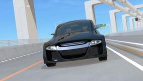 Zwarte autonome auto op de weg royalty-vrije illustratie