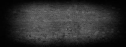 Zwarte bakstenen muur panoramische achtergrond Royalty-vrije Stock Foto