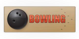 Zwarte bal op de steeg voor kegelenspel vector illustratie