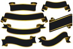 Zwarte Banners met Goud Stock Fotografie