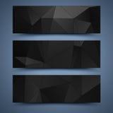 Zwarte bannersmalplaatjes. Abstracte achtergronden Stock Afbeelding