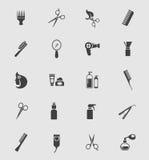 Zwarte Barber Shop Icons Royalty-vrije Stock Afbeeldingen