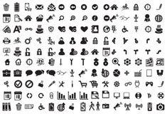 Zwarte bedrijfsdiepictogrammen op wit worden geplaatst Royalty-vrije Stock Foto's