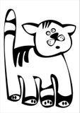 Zwarte beeldverhaalkat die op wit wordt geïsoleerds Stock Foto