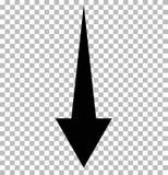 Zwarte benedenpijl op transparant Onderaan pijl royalty-vrije illustratie