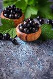 Zwarte bes met bladeren in houten kommen Royalty-vrije Stock Foto's